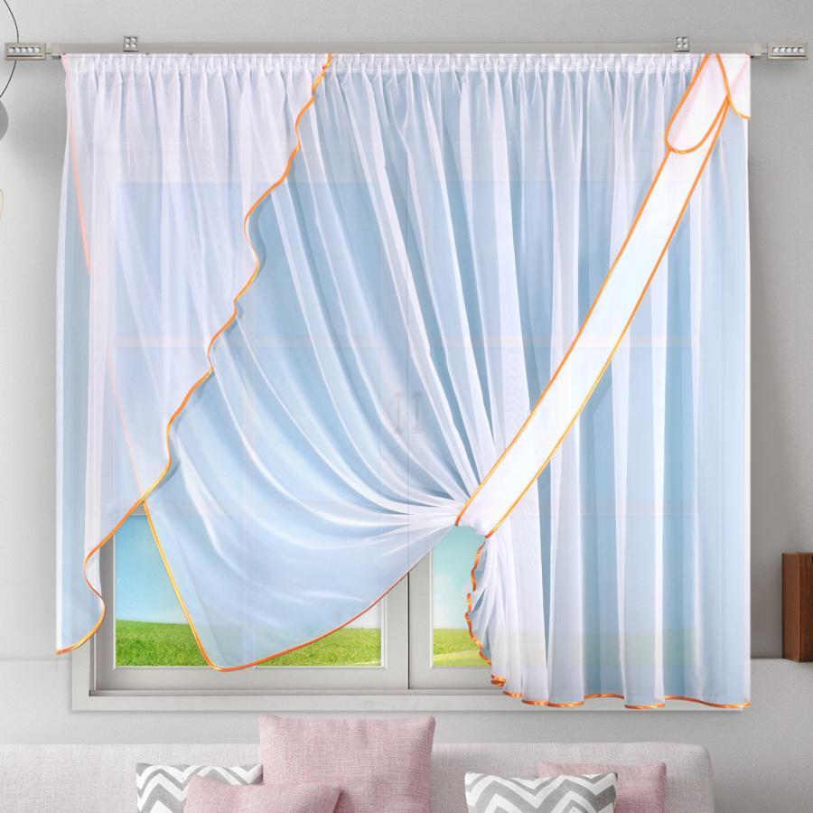 """Firanka szyta z woalu """"Wilma"""" - 150x320 cm - biała/pomarańczowa"""