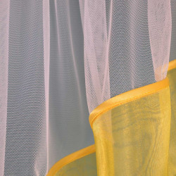 """Lambrekin szyty z tiulu """"Delia"""" - 75x320 cm - biały/żółty"""